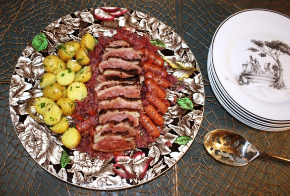 RED CHOUCROUTE GARNI WITH DUCK AND SAUSAGES