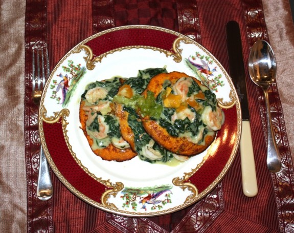 CARROT JOHNNYCAKES WITH SHRIMP FLORENTINE