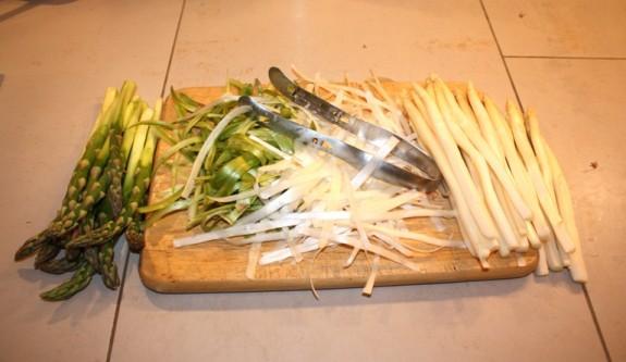 peeling asparagus